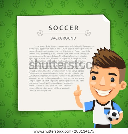 Green Background with Soccer Player - stock vector