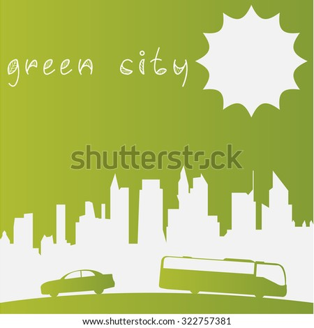 Green background with text and a skyline