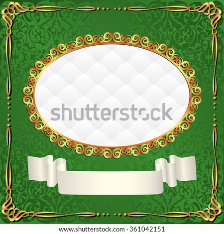 green background with vintage frame - stock vector