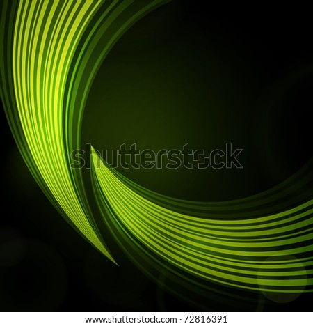 green background with waves of light - stock vector