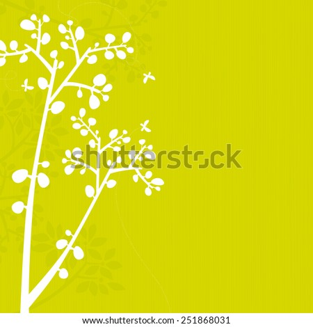 Green background with white and green branch silhouettes. Space for copy/text. Layered vector file, for easy manipulation. - stock vector