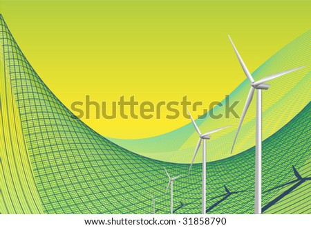 Green background with wind turbines - stock vector