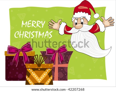 green background with xmas gift and cute santa claus - stock vector