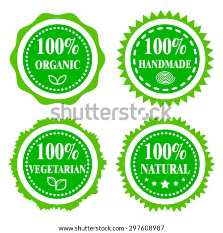 Green Badges Stickers Logo Stamp Hundred Percent Organic Vegetarian Natural