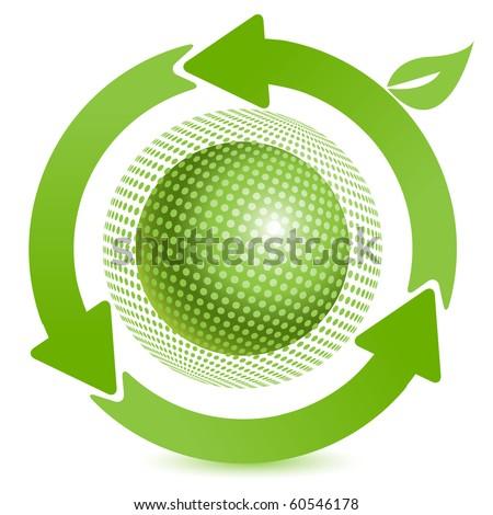 green ball - stock vector