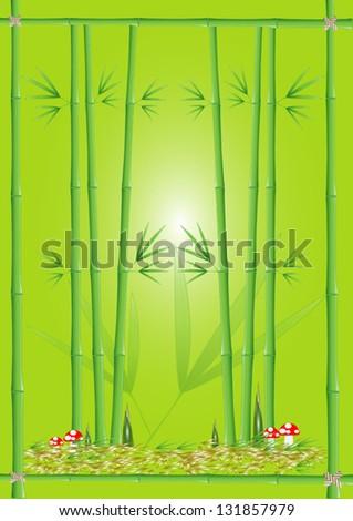 Green bamboo on green background, vector - stock vector