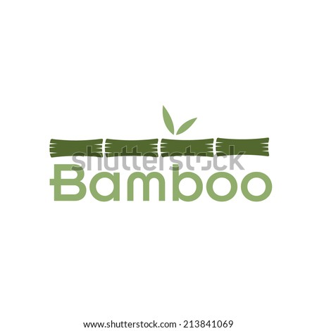 green bamboo stems and leaves - stock vector
