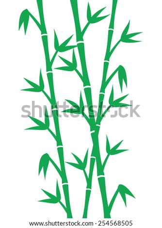 Green bamboo stems on white background - stock vector