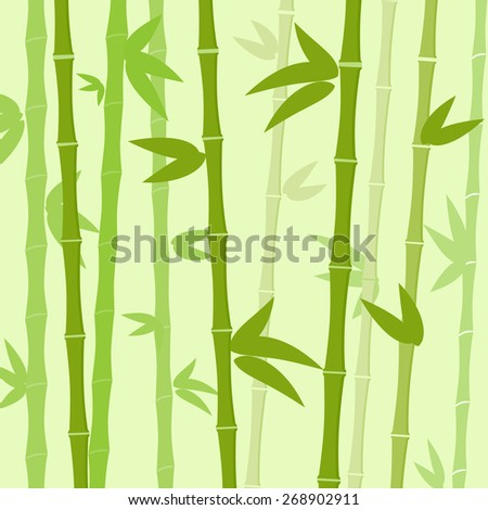 Green Bamboo Tree Leaves Background Flat Vector Illustration - stock vector