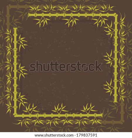 Green bamboo vintage vector frame. All objects are conveniently grouped on different layers and are easily editable - stock vector