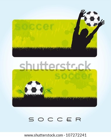 green banner soccer with ball and silhouette men. vector illustration - stock vector