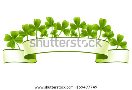 Green banner with clover leafs - stock vector