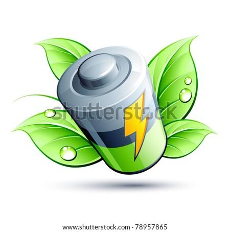 green battery icon - stock vector