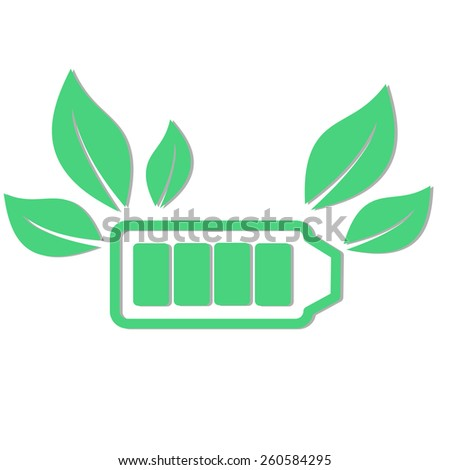 Green battery with leafs vector illustration - stock vector