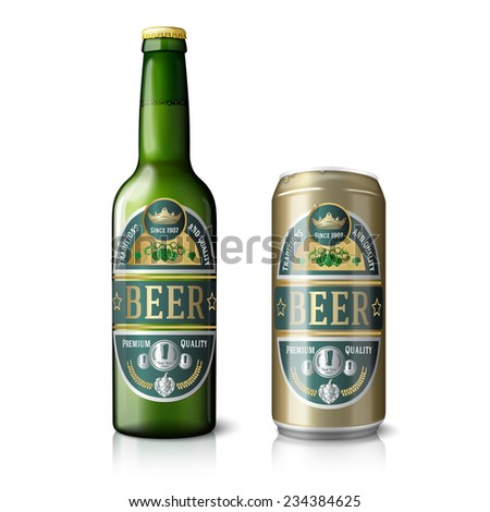 Green beer bottle and golden beer can, with labels. Isolated on white background with reflections. Vector - stock vector