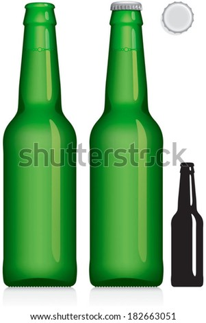 Green beer bottle 330 ml - vector visual, ideal for beer, lager, ale, stout etc. With and without lid, plus silhouette. Drawn with mesh tool. Fully adjustable & scalable. - stock vector
