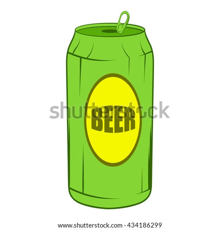Green beer can icon, cartoon style - stock vector