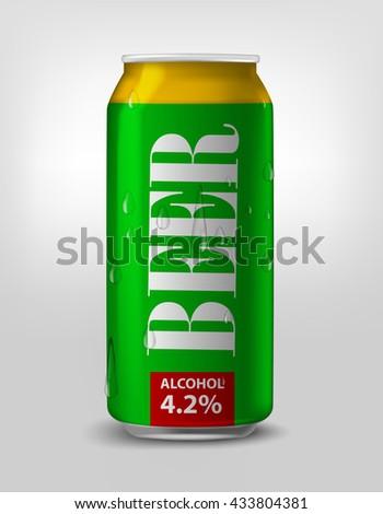 green beer can. Vector aluminium beverage can  - stock vector