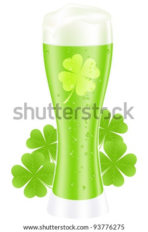 Green beer with shamrock for st. patrick's day. Vector illustration. - stock vector