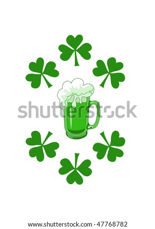 Green beer with shamrocks, vector illustration for saint Patrick's day - stock vector