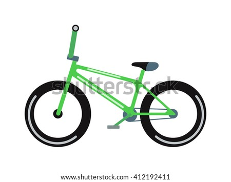Green bicycle isolated on a white background vehicle, frame cycling pedal gear transportation vector. Green bike gear transportation and brake exercise road red bike. Green mountain bike. - stock vector