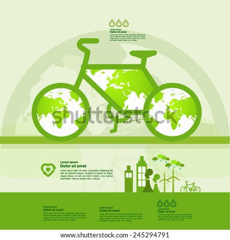 Green bicycle planet