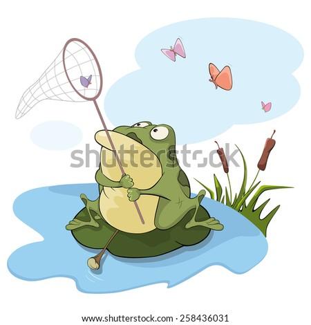 Green big frog. Cartoon - stock vector