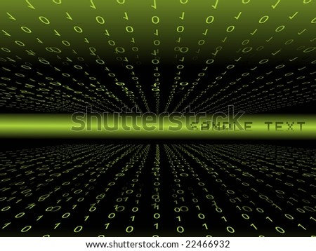 green binary background with place for text - stock vector