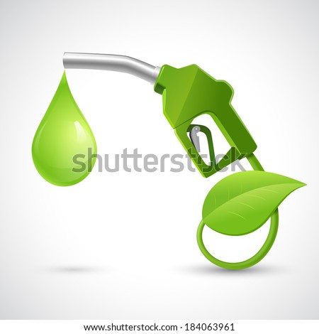 Green bio fuel concept with fueling nozzle leaf and drop natural energy concept vector illustration - stock vector