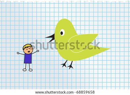 green bird and little boy - stock vector
