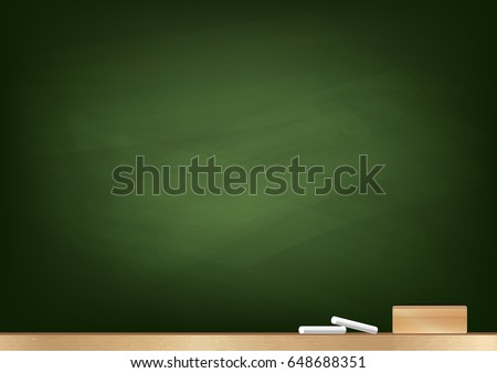 green blackboard background chalk blackboard eraser stock vector