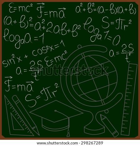 Green blackboard with mathematical formulas, globe, ruler, pencil - stock vector