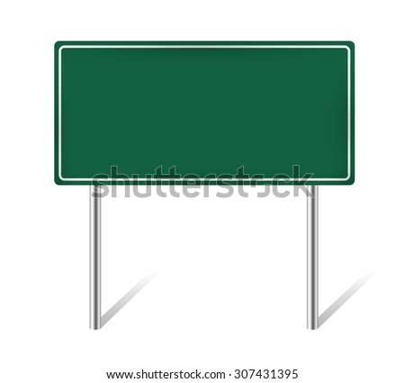 green blank information traffic sign isolated vector illustration - stock vector