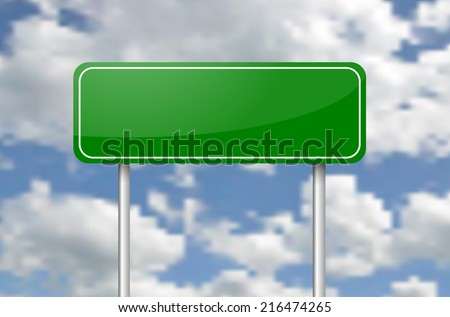 Green blank road sign over the blue cloudy sky vector - stock vector
