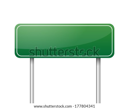 Green blank road sign vector