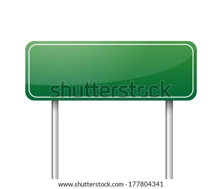 Green blank road sign vector - stock vector