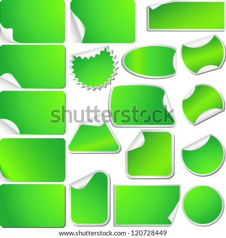 Green Blank Sticky Curled Paper Set Isolated on White. Vector - stock vector