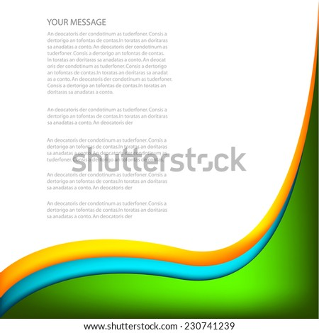 Green blue curve and orange line background on white space overlap layer for text and message modern artwork design background - stock vector