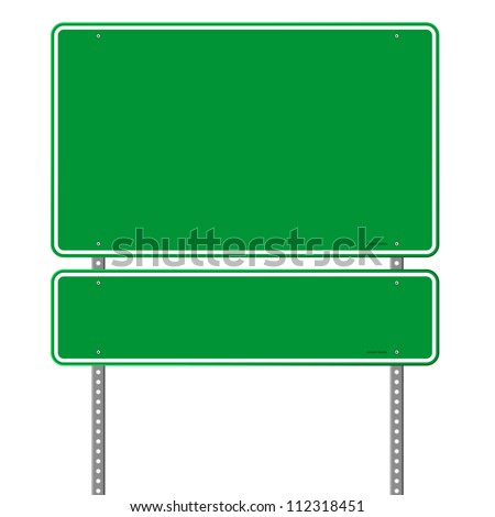 Green Blue Roadsign - Square roadsigns in green color tones isolated on white background - stock vector