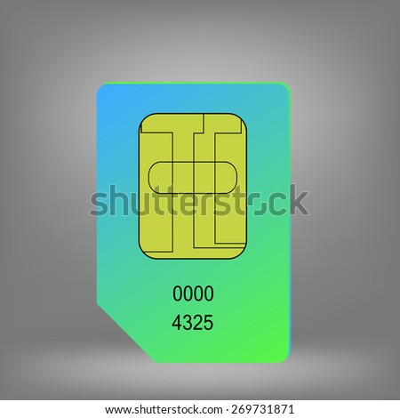 Green Blue Sim Card Isolated on Grey Background. - stock vector