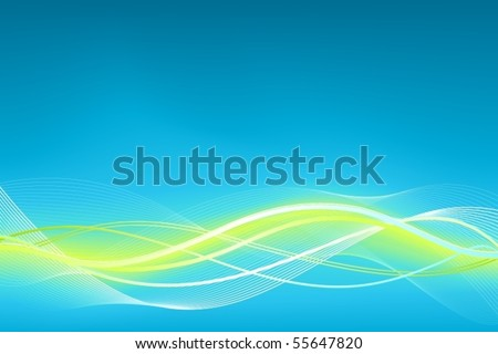 Green blue wave vector background. Horizontal background in shades of blue and green. Use of global colors, linear gradients, blends and clipping masks. - stock vector