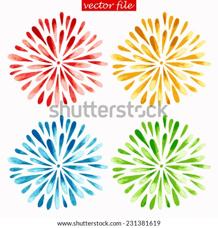 Green, Blue, Yellow and Red Watercolor Vector Sunburst Flower - stock vector