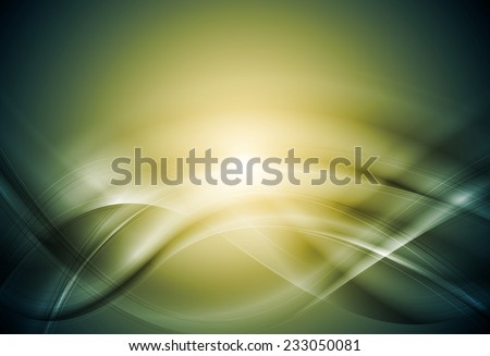 Green blurred abstract waves. Vector art design - stock vector