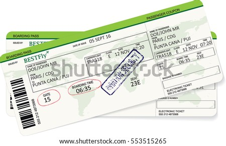 Green boarding pass. Vector template