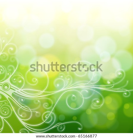 Green bokeh abstract light background & vintage calligraphy ornament. Vector illustration - stock vector