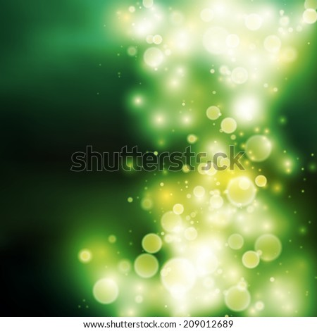 Green bokeh light vector background with spcae for your text - stock vector