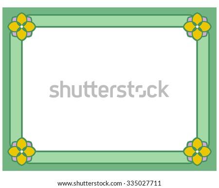 Green border frame deco vector art simple line corner - stock vector