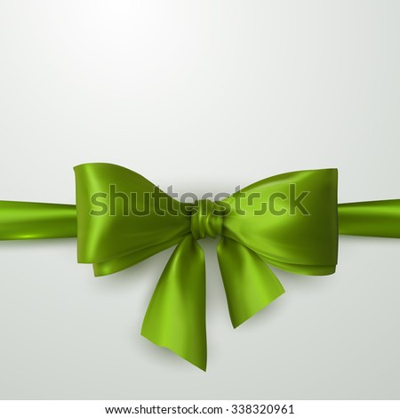 Green Bow And Ribbon. Vector Holiday Illustration. Decoration Element For Design  - stock vector