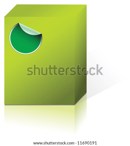 Green box containing some product with a label - stock vector