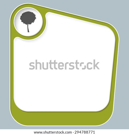 Green box for your text with white frame and tree symbol - stock vector